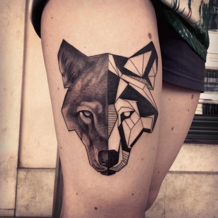wolf face, half geometrical, half black, geometric owl tattoo, tattoo on a girl's thigh