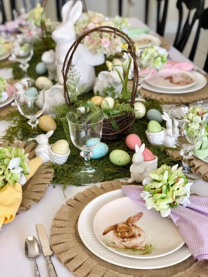 wooden basket, dyed eggs, scattered across the table, easter table decorations centerpieces