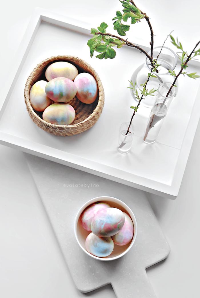 wooden bowl, full of colourful eggs, whipped cream eggs, diy tutorial, easter egg decorating
