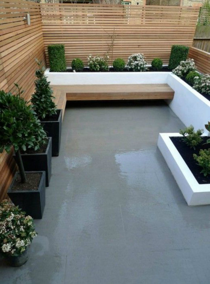 wooden benches, potted plants, small yard landscaping ideas, planted bushes and flowers