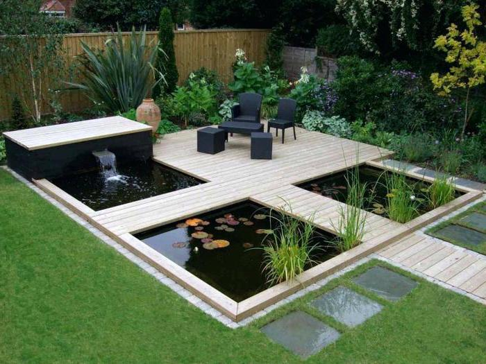 small ponds, with a small fountain, small space gardening, wooden pathways over them, planted bushes and trees