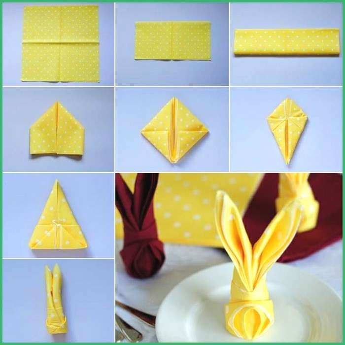 diy step by step tutorial, easter table decorations, how to fold napkins, yellow and white dotted napkins