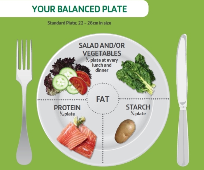 your balanced plate, protein starch and salad ratio, how to eat healthy, healthy eating plan