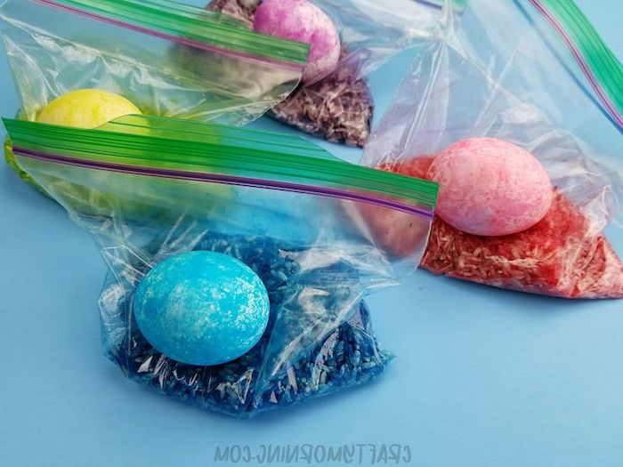 dyed rice, in a ziploc bag, yellow and blue, red and purple eggs, easter egg ideas, rice eggs, diy tutorial