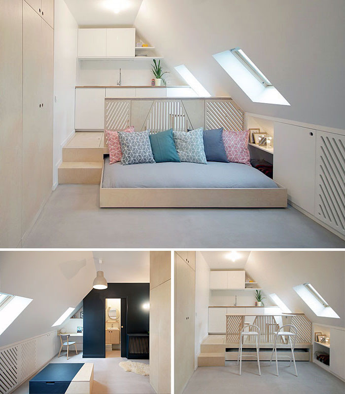 pull out furniture, minimalist living room, space saving furniture, a shaped ceiling, wooden divider