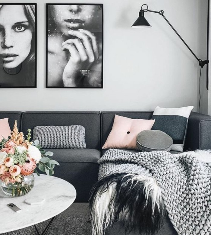 framed hanging art, dark grey corner sofa, colours that go with grey, pink throw pillows