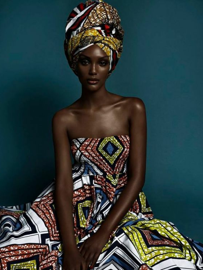 large headscarf, printed long dress, african print dresses, blue background