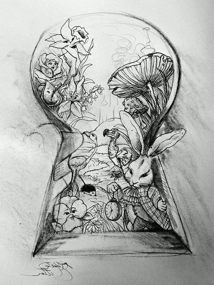 alice in wonderland, through the key hole, black and white, pencil sketch, things to draw when bored, cool things to draw easy step by step