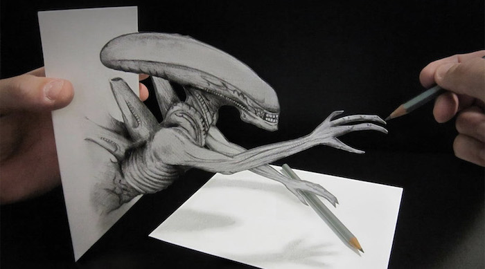 alien inspired, 3d art, things to draw when bored, black and white, pencil sketch, grey pencils
