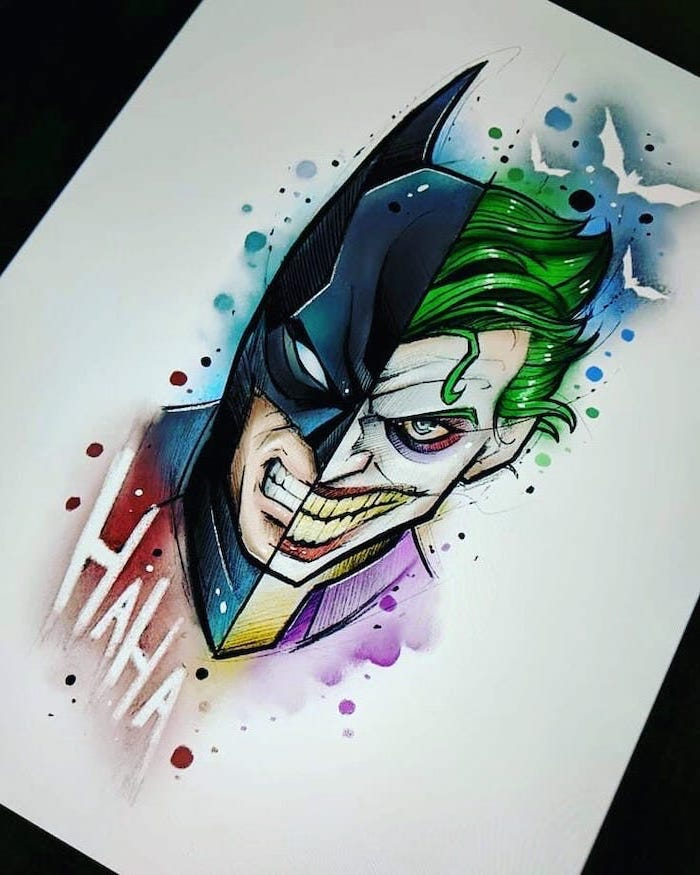 batman and joker, split art, watercolour painting, cool things to draw, white background
