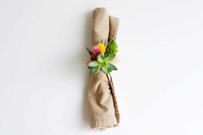 beige cotton napkin, table centerpieces, floral napkin ring, made of succulents and flowers