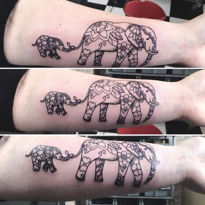 mandala shoulder tattoo, baby elephant, following a mother elephant, forearm tattoo
