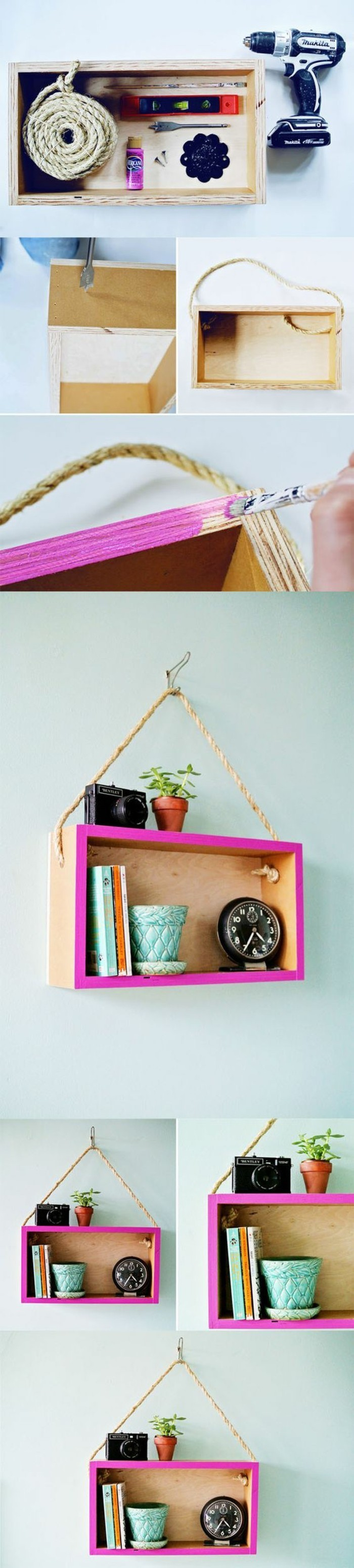 wooden crate, hanging on a white wall, unique wall decor, step by step, diy tutorial, painted pink frame