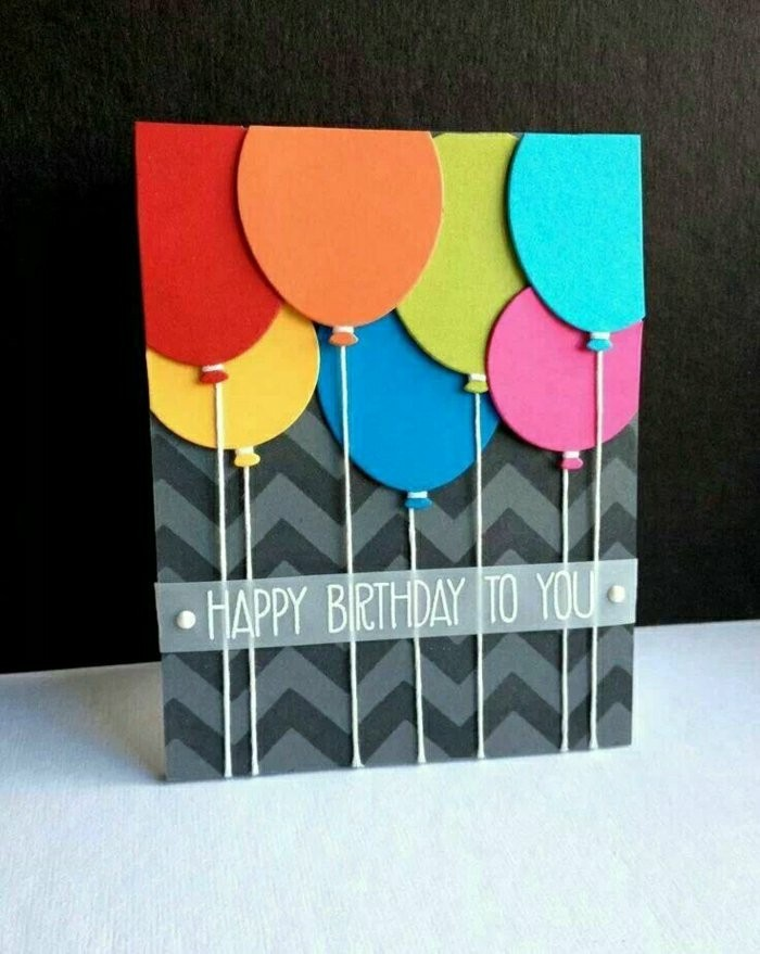 colourful balloons, on grey and black card stock, funny happy birthday cards, happy birthday to you