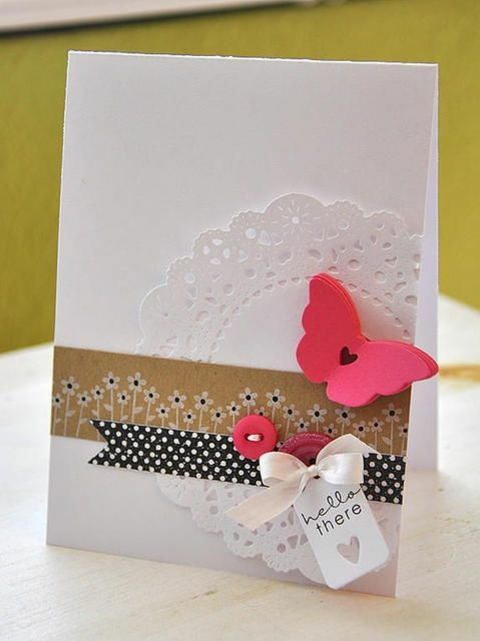 pink butterfly, white card stock, funny happy birthday cards, pink buttons, black and white dotted ribbon