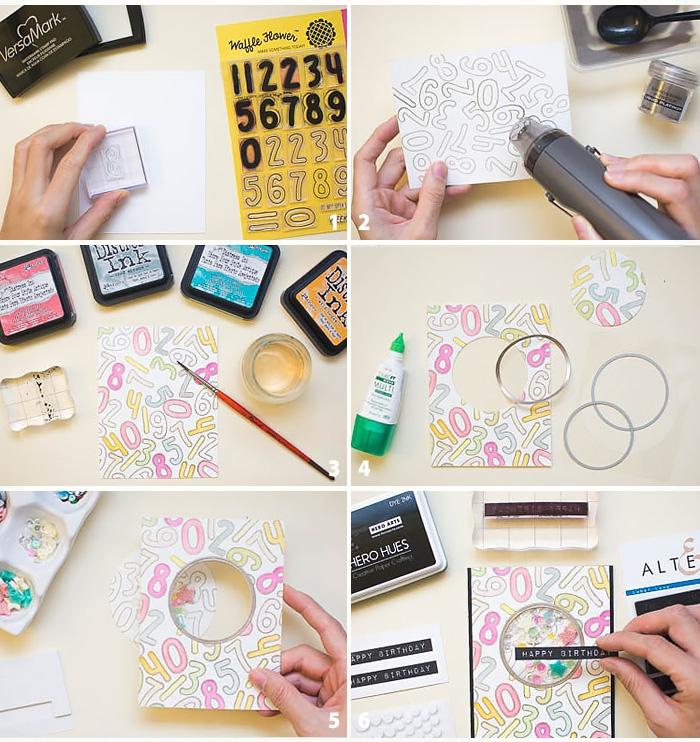 step by step, diy tutorial, birthday cards for best friend, white card stock, numbers drawn on it