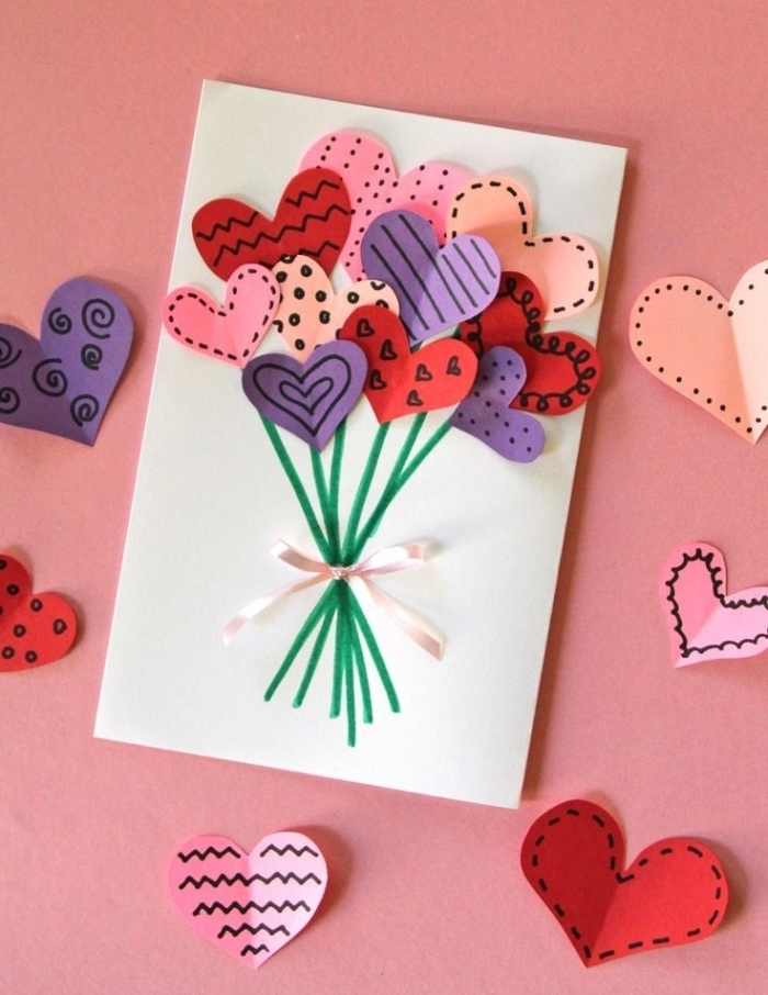 pink background, colourful paper hearts, on white card stock, pop up birthday cards