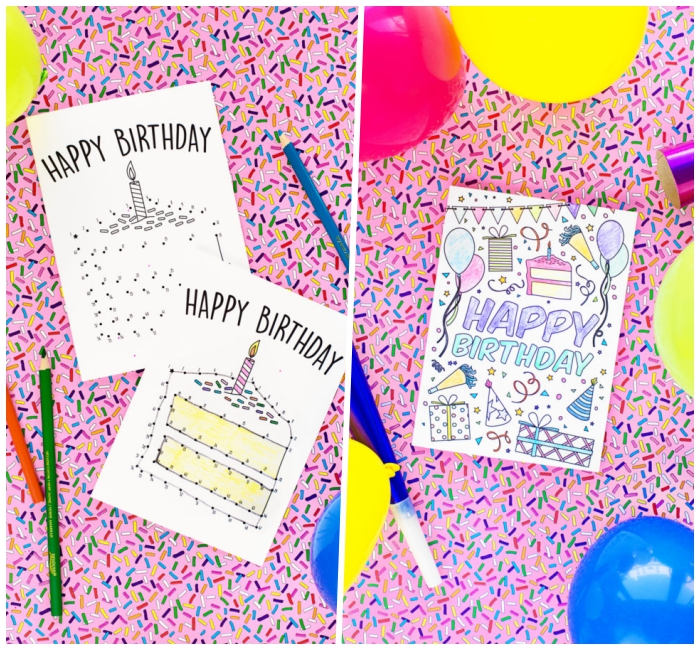 pink sprinkled background, diy birthday cards, connect the dots, happy birthday card