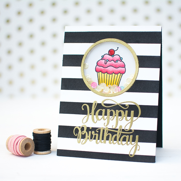 black and white stripes, gold happy birthday, diy pop up cards, small cupcake, sequins inside