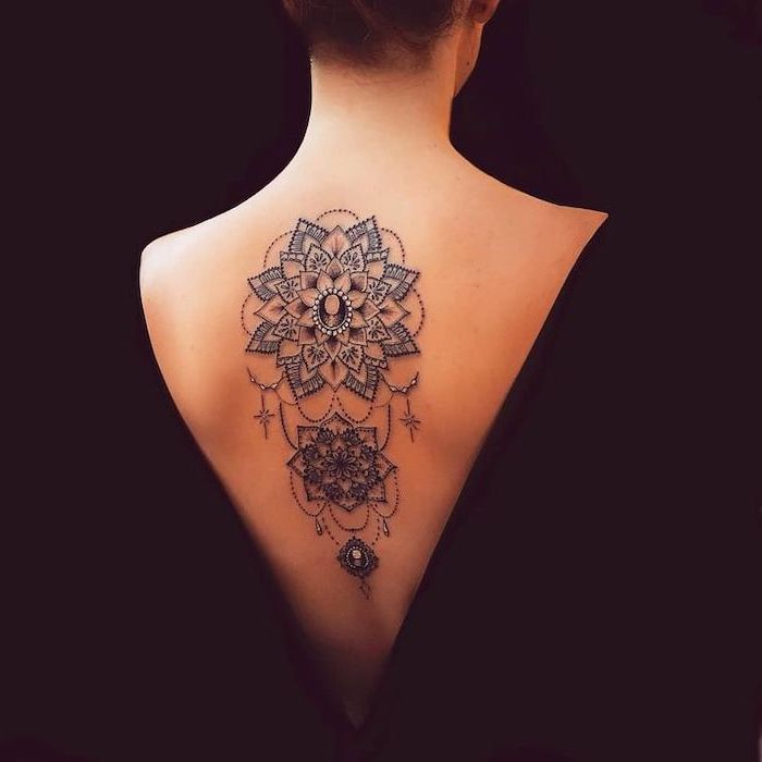 black background, mandala meaning, back tattoo, black dress