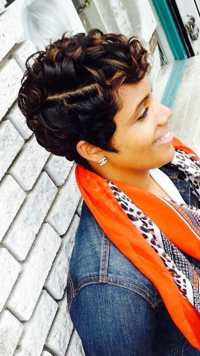 denim jacket, orange scarf, black hair, brown highlights, white tiled wall, cute hairstyles for short hair