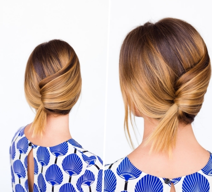 blue and white top, diy tutorial, easy hairstyles for long hair, low updo, brown and blonde ombre hair