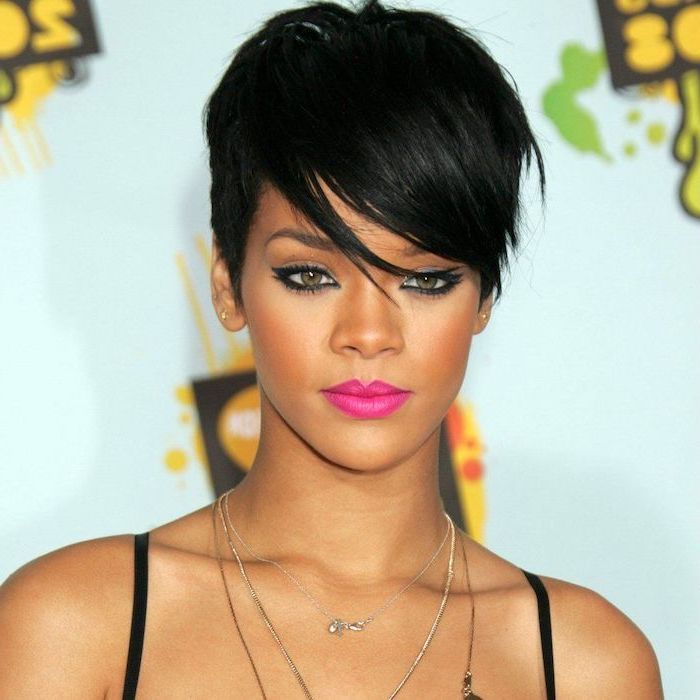 rihanna with black hair, black straps, pink lipstick, cute hairstyles for short hair, silver necklaces