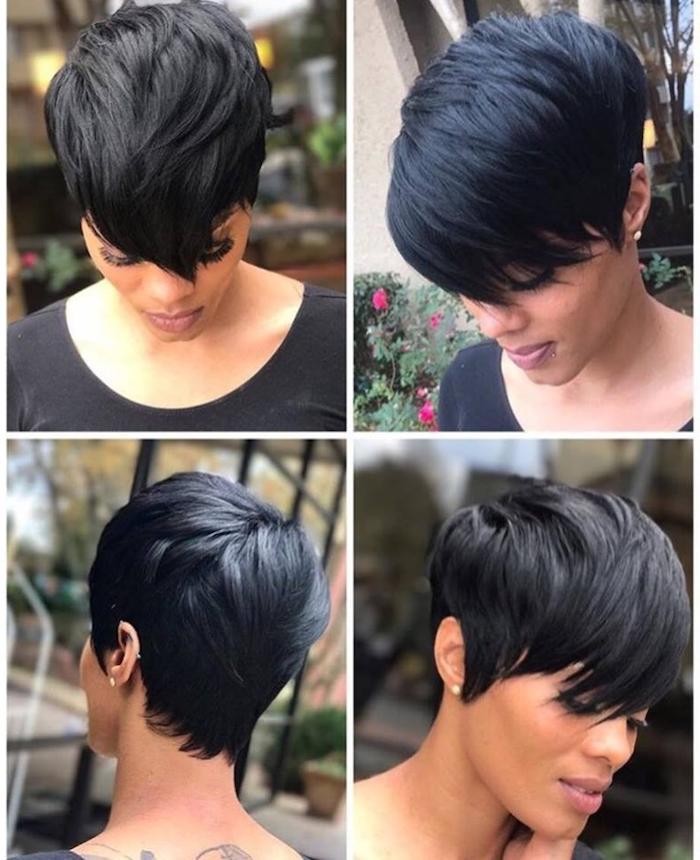 side by side photos, black hair, pixie cut, cute hairstyles for short hair