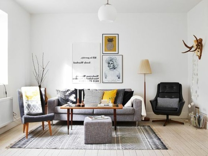 wooden floor, black leather armchair, beautiful living rooms, grey sofa and ottoman, wooden coffee table