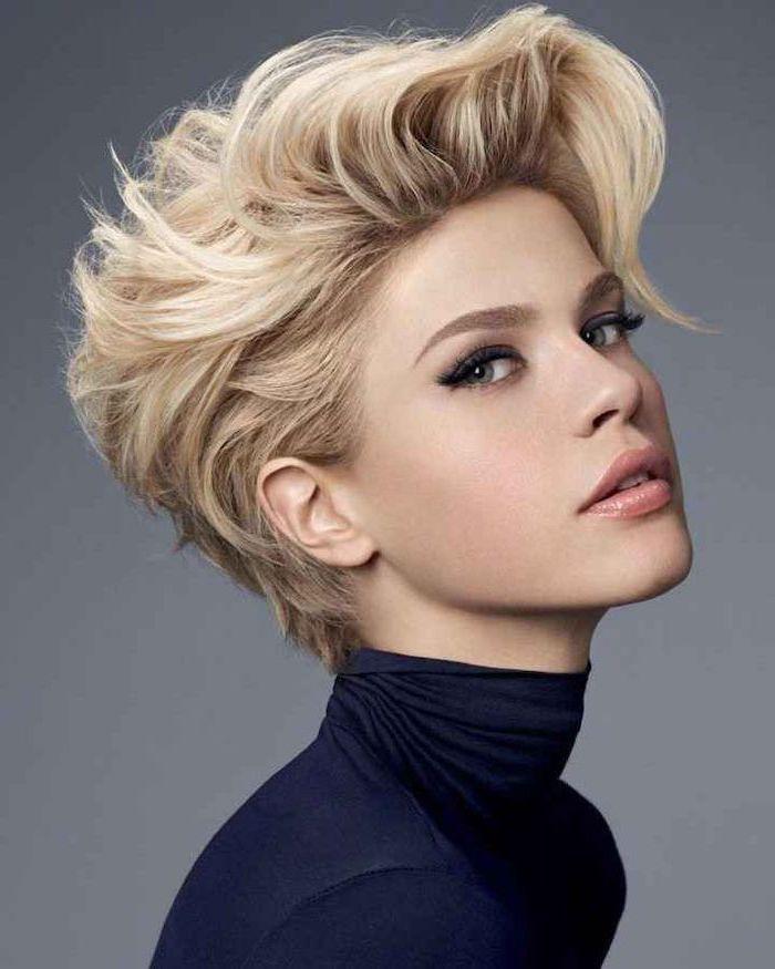 blonde hair, cute short haircuts, blue polo blouse, grey background