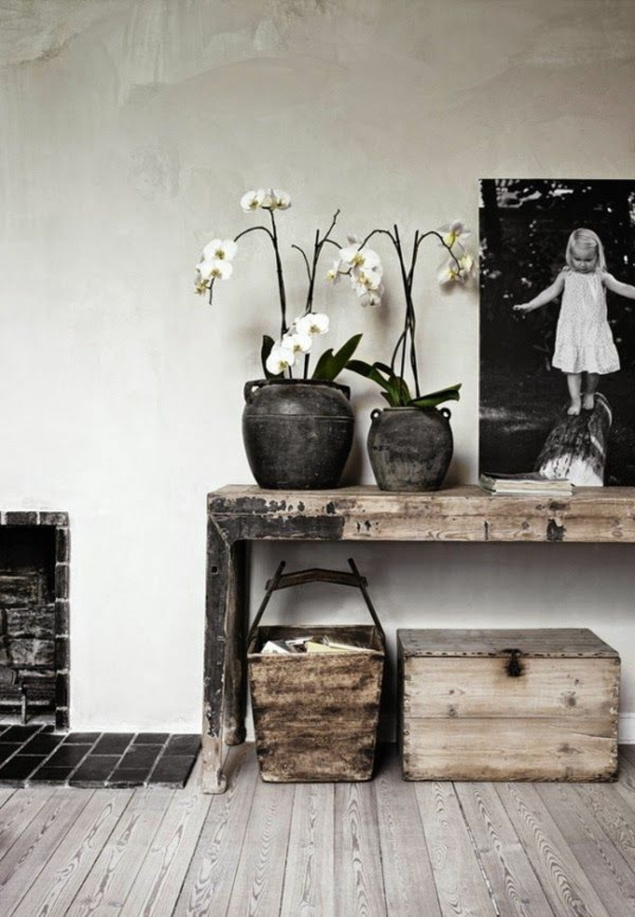 rustic style, wooden table table setting images, potted white orchids, black and white photo
