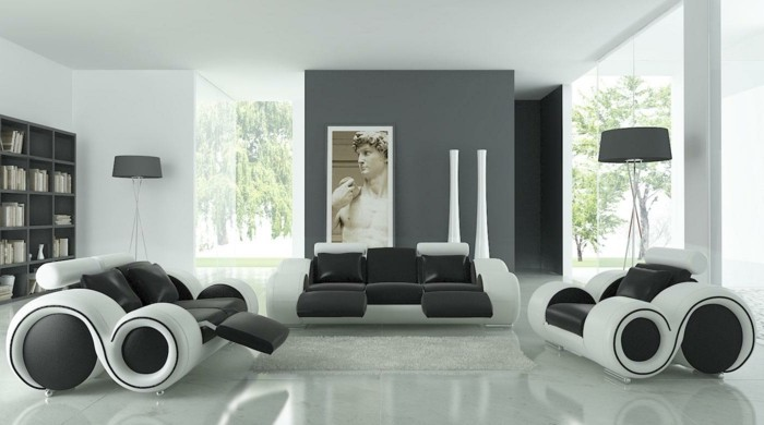 minimalist design, black and white, leather sofas and armchairs, grey wall, colours that go with grey