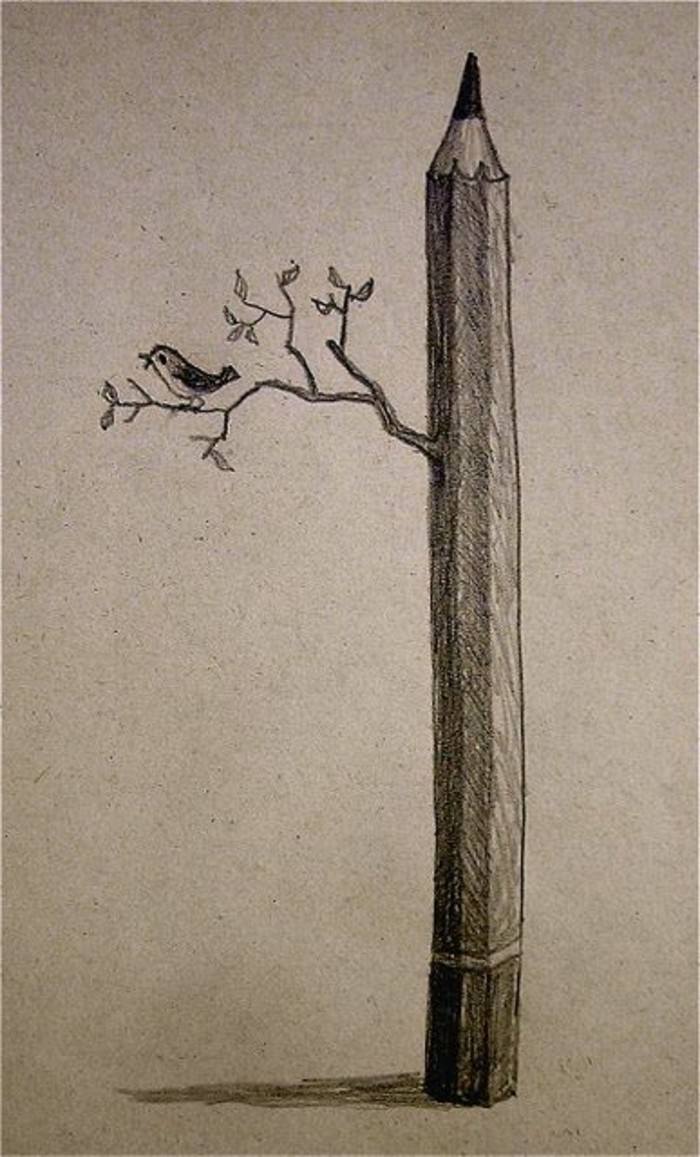 bird standing on a tree branch, coming out of a pencil, learn to draw with pencil, black and white, pencil sketch