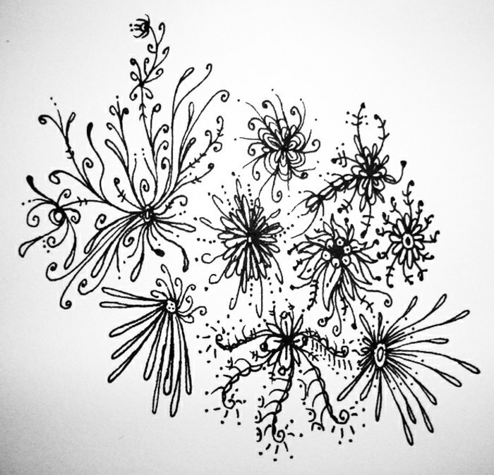 floral motifs, learn to draw with a pencil, black and white, pencil sketch