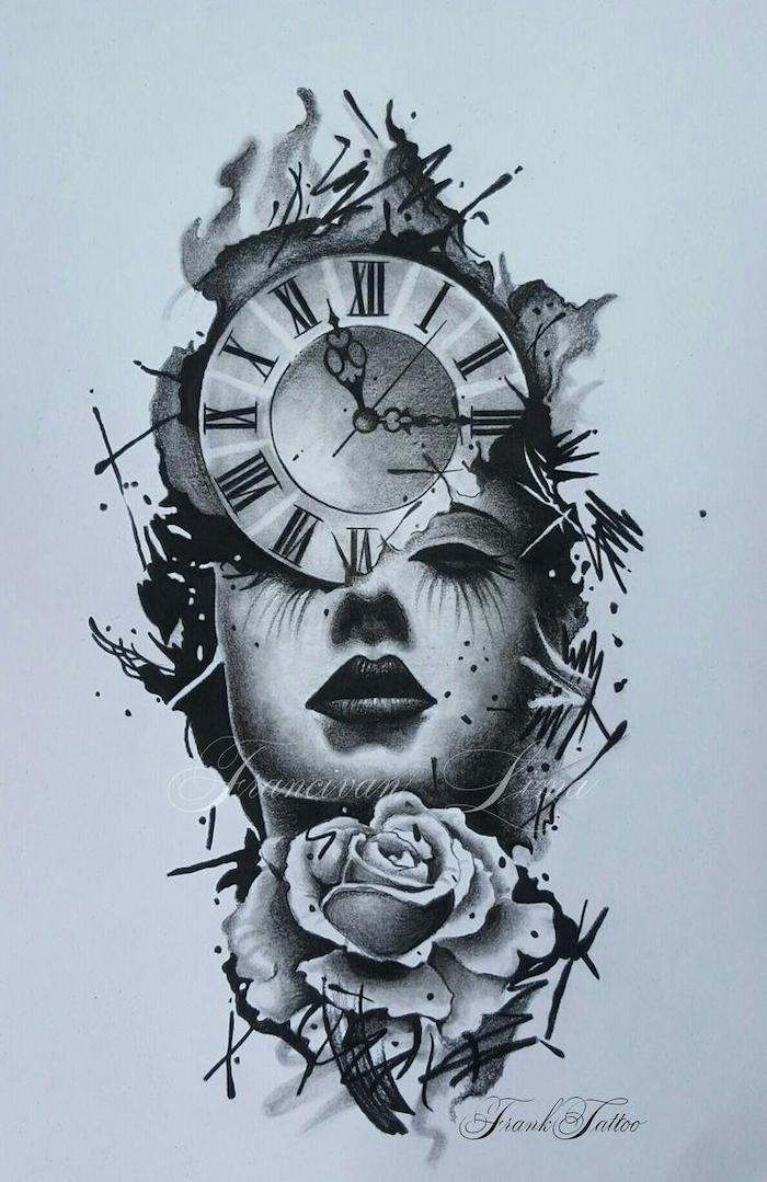 black and white sketch, of a woman, with a clock and a rose, birthday tattoos, white backgorund