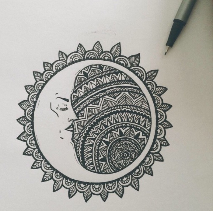 moon and sun drawing, mandala shoulder tattoo, black and white sketch, white background