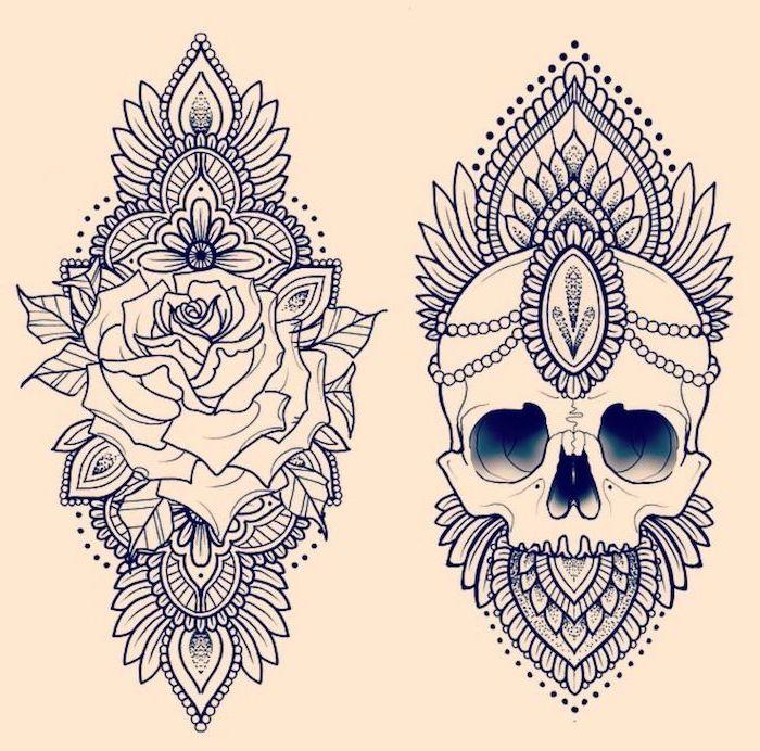 rose and skull, mandala flower tattoo, white background, black and white sketch