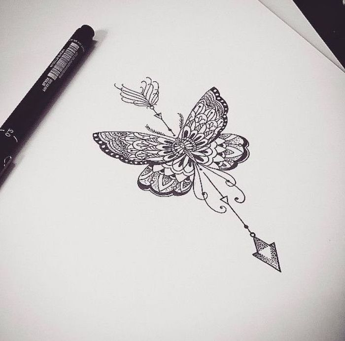 mandala flower tattoo, butterfly drawing, white background, black and white sketch