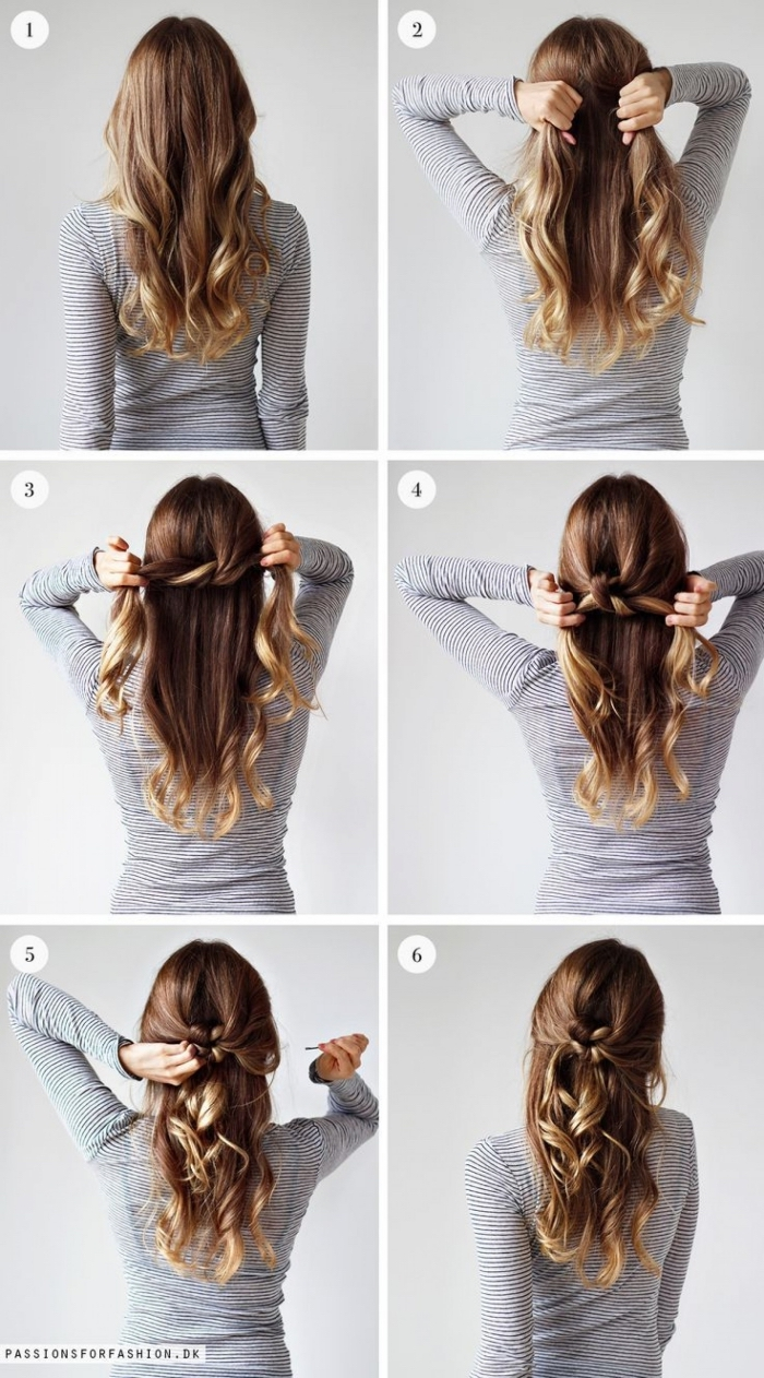 easy hairstyles for short hair, step by step, diy tutorial, knotted hair, wavy brown hair, half up, half down