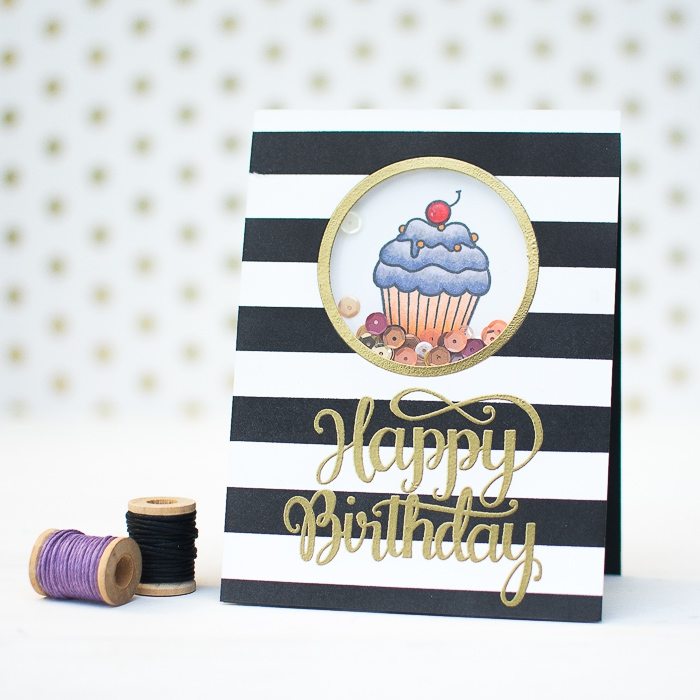 gold happy birthday inscription, black and white stripes, diy pop up cards, small cupcake, sequins inside
