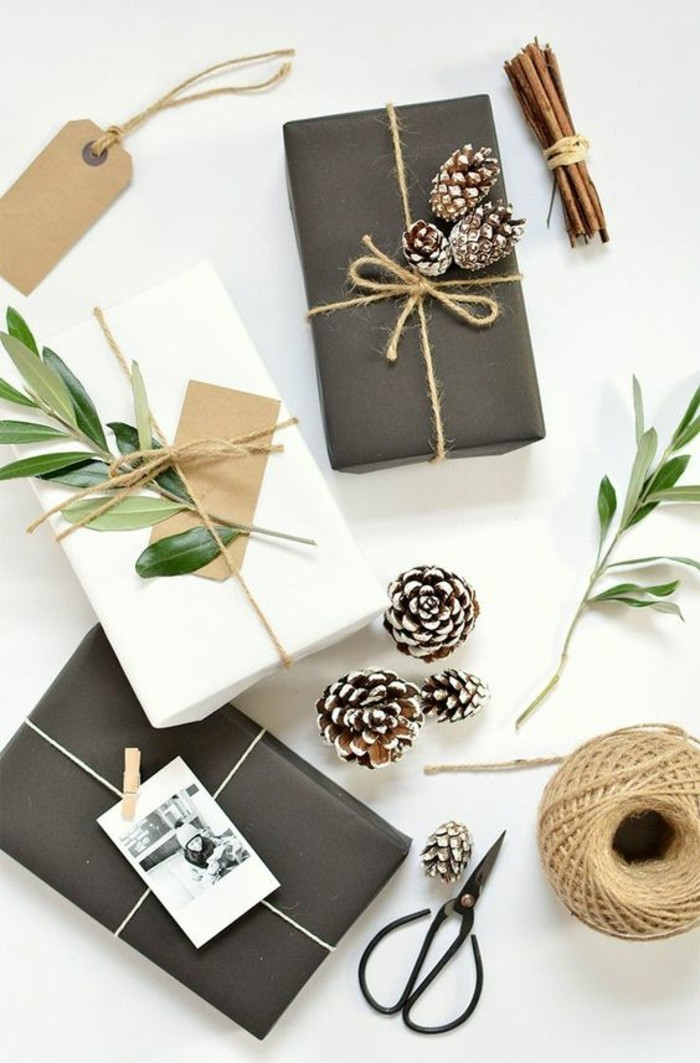 black and white wrapping paper, pine cones, tree branches, homemade christmas gifts for adults