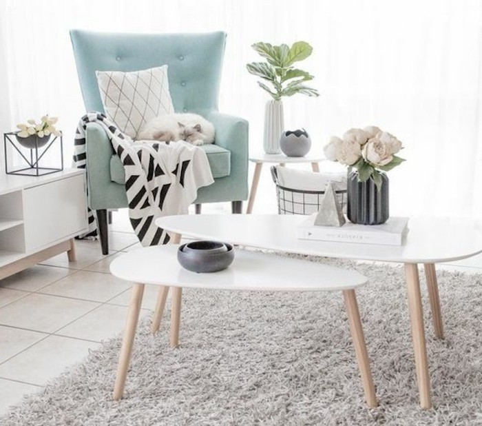 blue armchair, white wooden coffee tables, beautiful living rooms, grey carpet, tiled floor