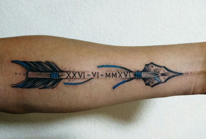 blue and black arrow, roman numerals, forearm tattoo, white background