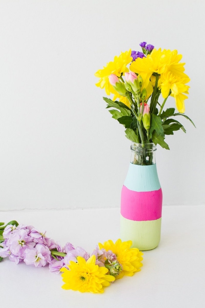 glass bottle, painted in green pink and turquoise, dining room centerpieces, flower bouquets