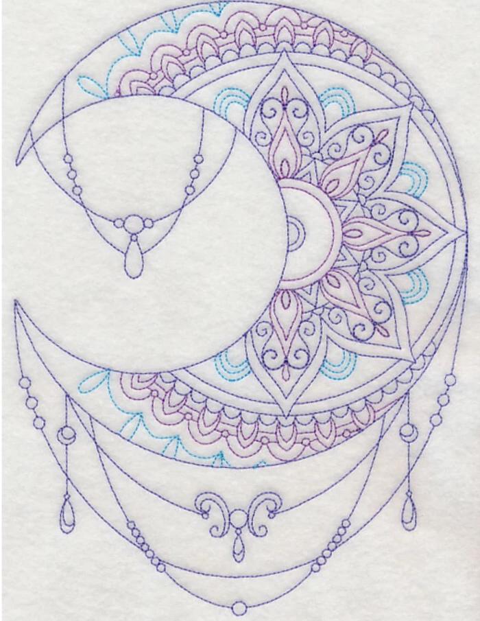 purple and blue, moon drawing, white background, mandala flower tattoo