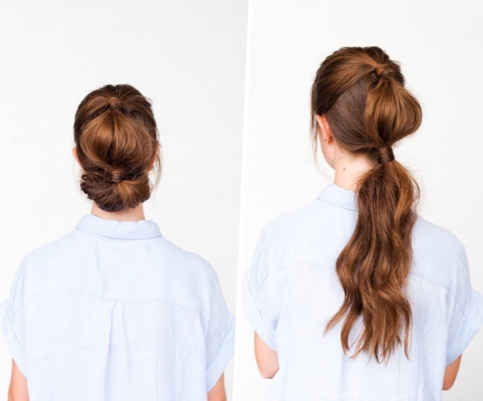 woman wearing a blue shirt, beautiful hairstyles, long brown hair, in a low updo, in front of a white backgorund