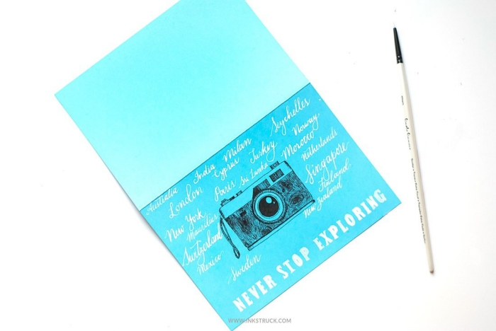blue card stock, vintage camera, drawn on it, never stop exploring, cute birthday cards, white background