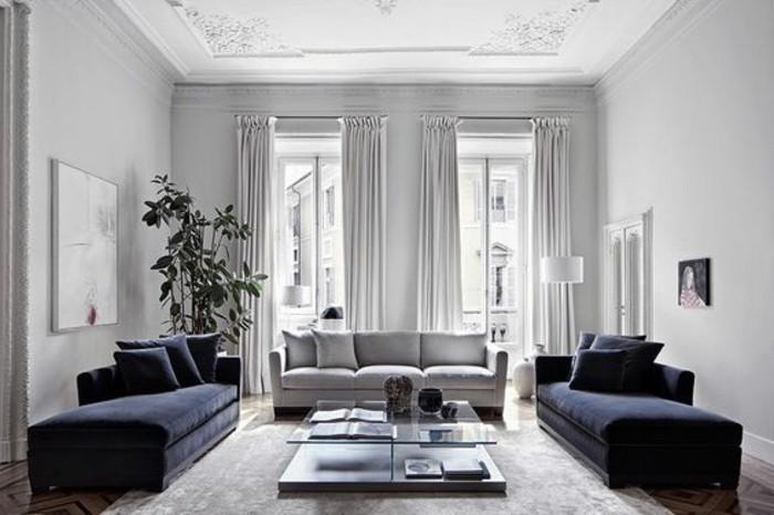 blue velvet sofas, grey sofa, best color for living room walls, white walls, tall ceiling, wooden floor