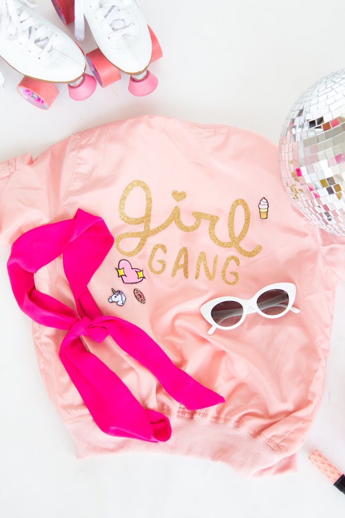pink scarf, roller, skates, disco ball, unique birthday gifts for him, blush bomber jacket, white sunglasses