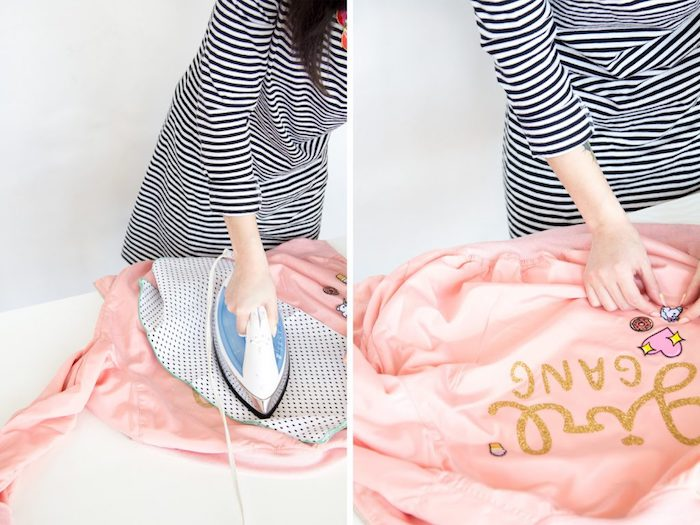 blush bomber jacket, gold glitter, girl gang letters, unique birthday gifts for him, diy tutorial